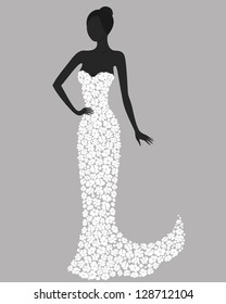 Silhouette of a gorgeous girl in white flower dress