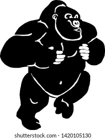 Silhouette of a gorilla thumping its chest. Vector illustration.