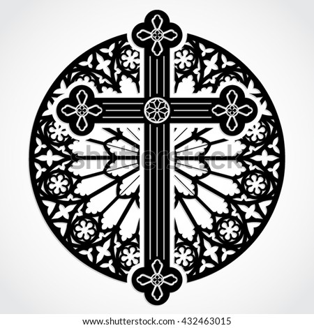 Silhouette Gothic Cross On Rose Window Stock Vector Royalty Free