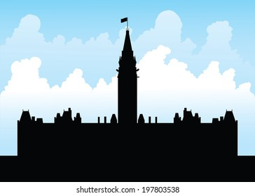 Silhouette of the government building on Parliament Hill, Ottawa, Ontario, Canada.