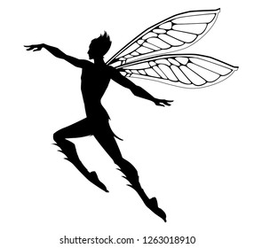 Silhouette of the graceful fairy boy. Stock vector illustration.