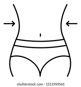 silhouette of graceful female body belly, waist and hips. Weight loss line icon.
