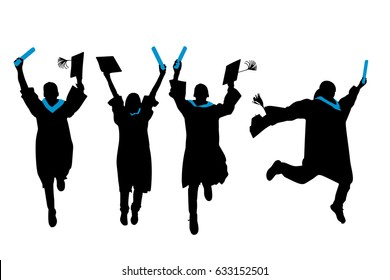 silhouette of graduation student feel excited on white background