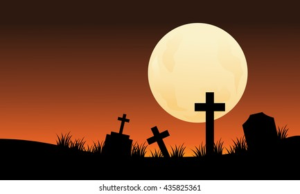 Silhouette of graveyard and full moon halloween scaryy