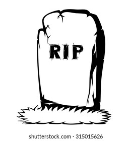 Silhouette of a gray gravestone with grass and RIP text (black and white)