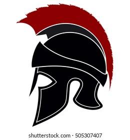 Silhouette Greek Helmet with a Red Crest on a White Background. Spartan Helmet. Roman Helmet