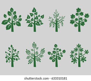 Silhouette of green trees on grey background - Vector Illustration