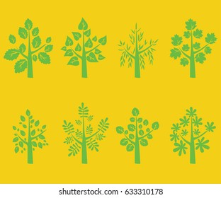 Silhouette of green trees on yellow background - Vector Illustration