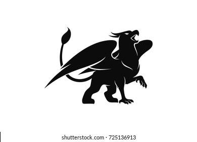Silhouette of Griffin. Mythology creature with eagle head and lion body and eagle wings