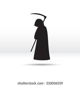 Silhouette of the grim Reaper. Vector illustration.
