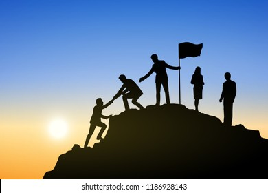Silhouette group of businessman helping each other hike up  a mountain on sun and sky background. Business, success, leadership, achievement and goal concept. Vector illustration.