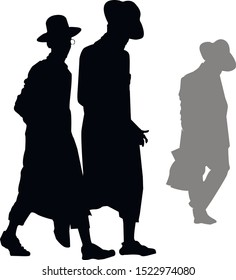 Silhouette of a group of Hasidic Jews. Jew in talit-katan and tzitzit. Religious Jew in traditional dress. The man in the hat. Isolated vector illustration black and white color.