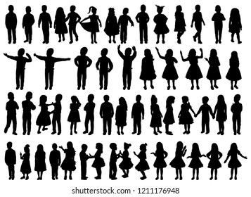 silhouette group of kids, set