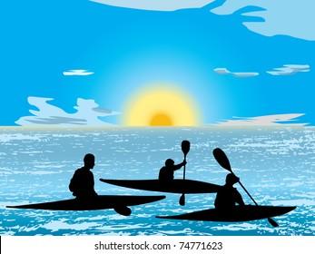 Silhouette group of man kayaking on lake at sunrise