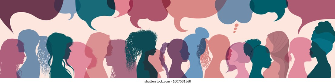 Silhouette group multiethnic women who talk and share ideas and information. Women social network community. Communication and friendship women or girls diverse cultures. Speech bubble