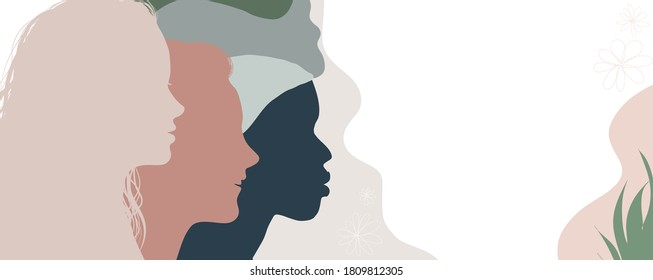 Silhouette group of multiethnic women who talk and share ideas and information. Communication and friendship women or girls of diverse cultures. Women social network community. Speak
