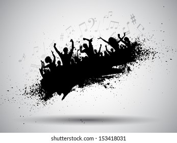Silhouette of a group of party people on a grunge background with music notes