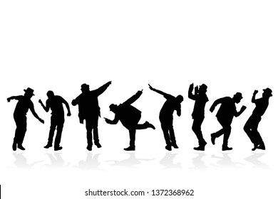 Silhouette group of people dancing on white background. Happy celebration concept. Eps10 Vector illustration.