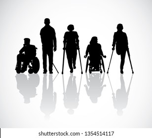 Silhouette group people with disabilities black and white