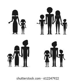 silhouette group people family