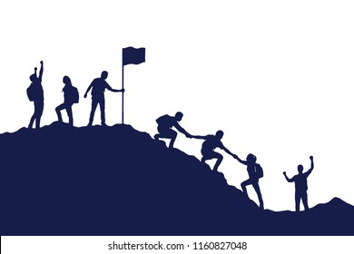 Silhouette group of people helping each other hike up  a mountain on white background. Business, success, leadership, achievement and goal concept. Vector illustration.