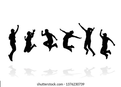 Silhouette group of people jumping on white background. Happy celebration concept. Eps10 Vector illustration.