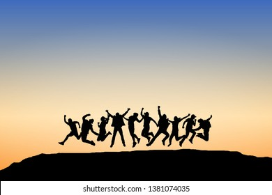 Silhouette group of people jumping on top of mountain. Sky and sunset background. Happy celebration concept. Eps10 Vector illustration.