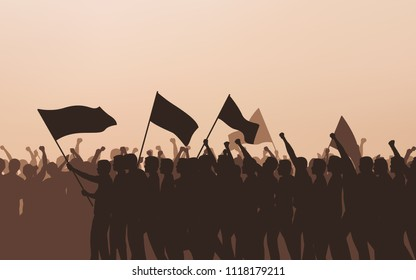 Silhouette group of people Raised Fist and flags Protest in flat icon design with evening sky background