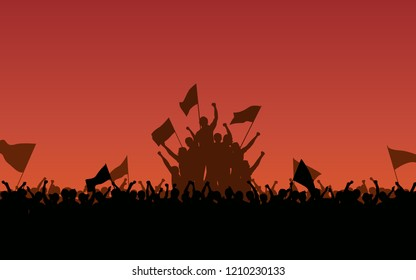 Silhouette group of people Raised Fist and flags Protest in flat icon design with red color evening sky background