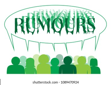 A silhouette of a group of people sharing a large 'rumours' speech bubble isolated on a white background