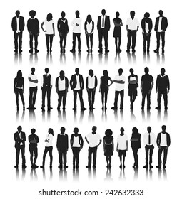 Silhouette Group of People Standing Vector