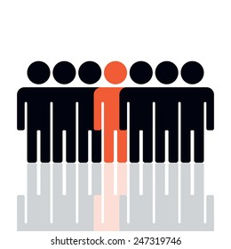 Silhouette of a group of people.vector illustration