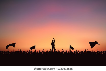 Silhouette group of Protester people Raised Fist and flags in flat icon design with evening sky background