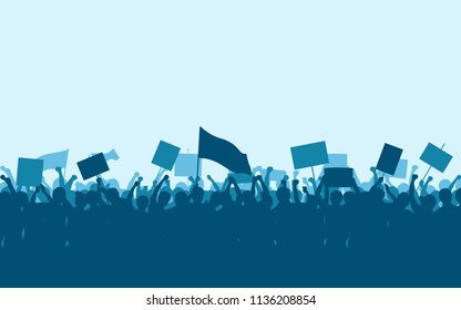 Silhouette group of protesters people Raised Fist and Signs in flat icon design with blue color sky background