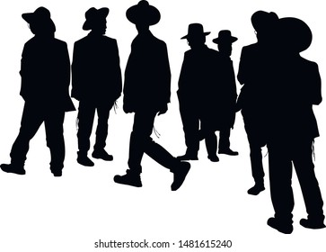 Silhouette of a group of religious Jews. A collection of silhouettes of religious Jews. A Jew in a traditional costume looks forward. Hasid in and hat. Isolated vector illustration Black on white.