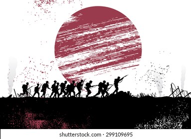 Silhouette group of soldiers in battlefield with Japanese flag as a background. All objects are grouped.
