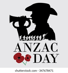 Silhouette of a group of soldiers fighting in battle filed with a soldier blowing horn as a background