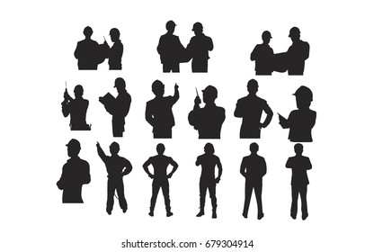 Silhouette Group of Technician Engineer Foreman Mechanic Architect isolated on white background