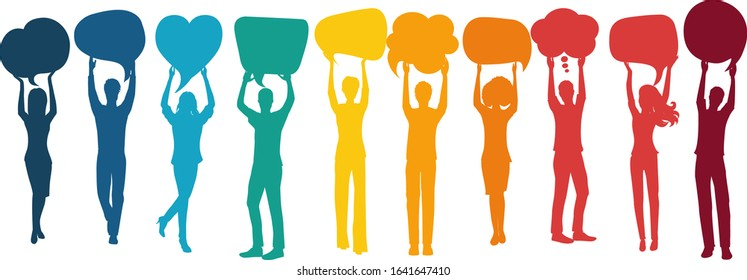 Silhouette group of volunteer people with arms raised holding speech bubble.Cooperation and help between people.Care and assistance.Concept of solidarity friendship and charity.Community