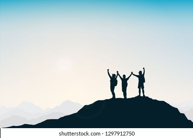 Silhouette group of young man celebrating success on top mountain, sky and sun light background. Business, teamwork, achievement and people concept. Vector illustration.