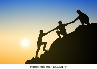 Silhouette group of young man helping each other hike up a mountain on sun and sky background. Business, success, leadership, achievement and goal concept. Vector illustration.