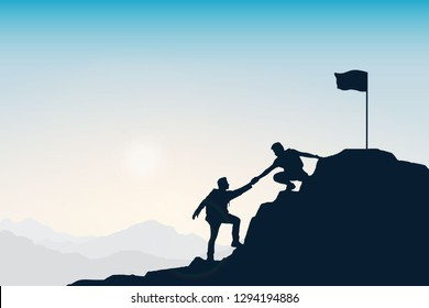 Silhouette group of young man helping each other hike up a mountain at sun and sky background. Business, success, leadership, achievement and goal concept. Vector illustration.