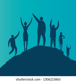 Silhouette group of young men celebrating success on top of a mountain, Business, teamwork, achievement and people concept. Vector illustration. - Vector