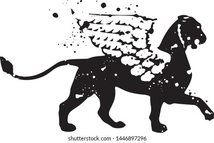 Silhouette of a Gryphon of inc spots with splashes and drops. Vector illustration