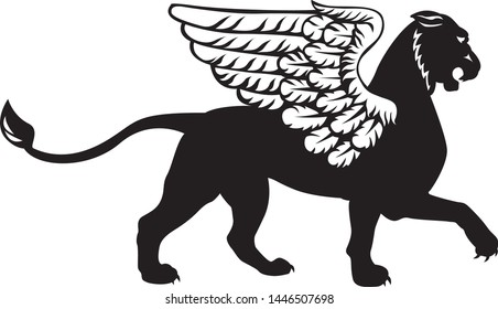 The silhouette of a Gryphon with a lion's head and white wings. Vector symbol