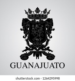 Silhouette of of Guanajuato Coat of Arms. Mexican State. Vector illustration
