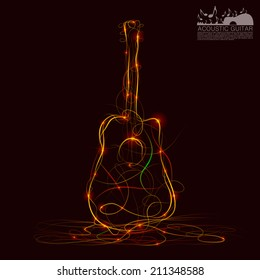 Silhouette of guitar fire. Vector illustration