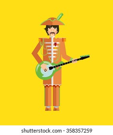 Silhouette of guitar player. Flat design. Image. Illustration. Icon. Vector.