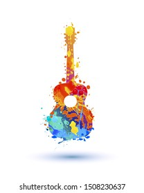 Silhouette of guitar of splash paint. Vector symbol