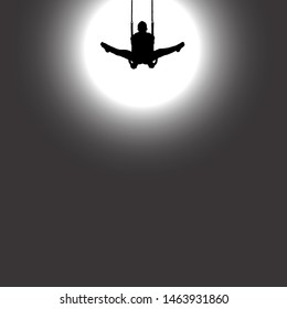 Silhouette of a gymnast doing the front lever split on the roman ring against a spotlight. Vector illustration.